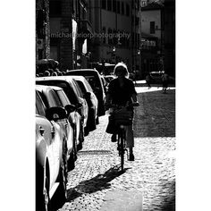 Darling Violets - Lady Cycling Down A Cobbled Florentine Street