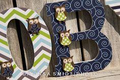 Owl Themed Letters for Baby Boy Nursery  by WanderlustbyAlissa, $12.00