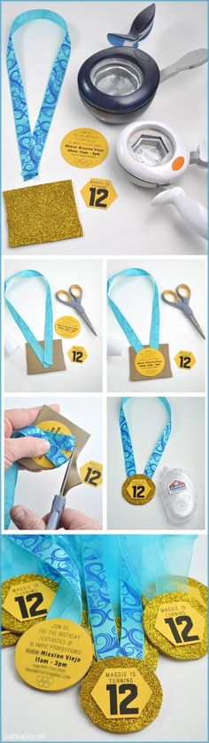 These easy to make Olympics gold medal invitations are a crafty and creative way to make homemade birthday invitations for an Olympic themed party. Use gold glitter foam, paper and ribbon to create these homemade gold medals. Homemade Birthday Invitations, Diy Invitations, Gymnastics Birthday, Sports Birthday, Olympic Gymnastics, Olympic Gold Medals, Sports Party, Birthday Party Themes, Gifts For Mom