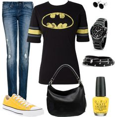 - for some reason I really love this whole outfit.I know I& weird. Now I want yellow converse too! Batman Outfits, Outfits With Converse, Look Fashion, Fashion Outfits, Womens Fashion, Teen Fashion, Geek Chic Fashion, Lolita Fashion, Cool Outfits