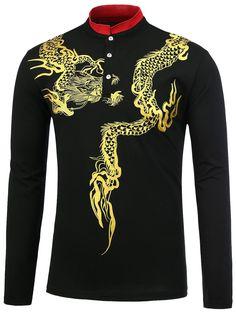 Stand Collar Dragon Print Shirt 0f50d9f14