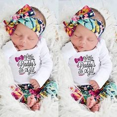 71c531150fd1 Newborn Baby Girls Outfits Clothes Floral Romper Bodysuit Pants Hat  Headband USA