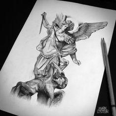 St. Michael statue. Tattoo artwork,renessans.