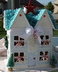 paper mache houses christmas | Paper mache house all decorated for Christmas