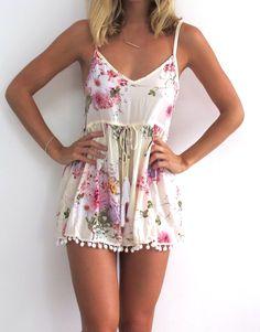 Pink Blossom Pom Pom Jumpsuit / Playsuit, Short Beach Dress, Floral Print Skort Shorts by ljcdesignss on Etsy https://www.etsy.com/listing/182720080/pink-blossom-pom-pom-jumpsuit-playsuit