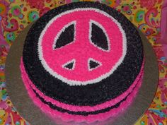 neon cakes for birthdays | Peace sign birthday cake for a friend's daughter. Cake is frosted in ...