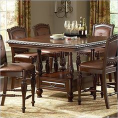 Furniture Of America Jameson 7 Piece Counter Height Table Set Custom Pub Height Dining Room Table Inspiration Design