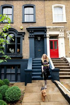This four-story Victorian terraced house is the London home of fabulous British interior designer, Abigail Ahern, where she resides with her husband. Grey Window Frames, Grey Windows, Windows And Doors, Painted Window Frames, Red Doors, House Windows, Terraced House, Victorian Terrace, Victorian Homes