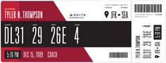 Suggested boarding pass design for Delta Airlines (DL)