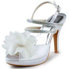 4160e36f48bb Fashion Design Handmade Flower White Peep Toe Stiletto Heel Sandals for  Women Slingback Satin Sexy High Heels Shoes