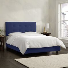 Sleek, sophisticated and luxurious, this elegant bed has plush foam padding that will give you the comfort you deserve. Spot clean only. Easy assembly required. Mattress and box spring required