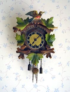 Vintage Black Forest Wall Clock With Bird