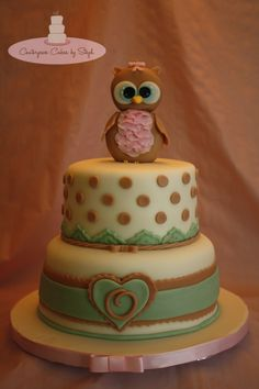 Owl for Olivia - This baby shower cake is marble with a cute edible fondant Owl topper. The Owl was inspired by a few different Owls that were made by the great Arte da Ka! If you have a chance, check them out - amazing sugar art!! The cake was also an inspiration from LE DELIZIE DI AMERILDE   TFL <3
