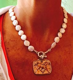 Pearly Girls Horse Pendant Necklace, $195.00