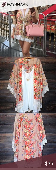 "Restocked Gorgeous Floral kimono  last pic actual product 100%polyester super cute just large available but if you need another size you can pre-order it takes from 1 to 2 weeks measurements ➡️large 28"" laying flat arm pit to arm pit waist 27 1/2"" length 29"" belt not included  Sweaters Cardigans"