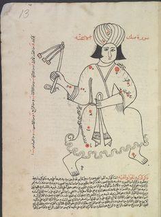 Auriga, 'Book of Fixed Stars' (Kitāb suwar al-kawākib al-ṯābita) by 'Abd al-Rahman ibn 'Umar al-Ṣūfī Ancient Scripts, Library Catalog, Sufi, Calligraphy Art, Mirror Image, Islamic Art, Astronomy, Folk Art, Astrology