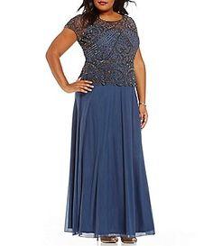 fe4a83dac8bc Pisarro Nights Plus Beaded Peplum Dress Dillards Plus Size Dresses, Dillards  Dresses Formal, Mob