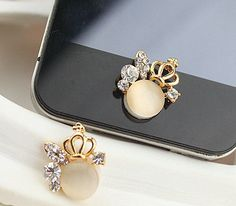 1PC colorful rhinestone /Bling crown Crystal Frame iPhone Home Button Sticker for iPhone 4,4s,4g, 5 iPad, Phone Charm on Etsy, $4.99