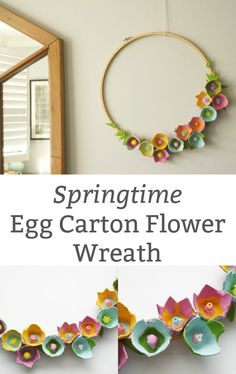 Who knew an egg carton could looks so lovely. A simple spring DIY egg carton wreath covered in beautiful egg carton flowers. diy How to Make a Beautiful Egg Carton Wreath with Egg Carton Flowers Egg Carton Art, Egg Carton Crafts, Adult Crafts, Fun Crafts, Crafts For Kids, Easter Crafts For Adults, Arts And Crafts For Adults, Crafts For The Home, Hobbies For Adults