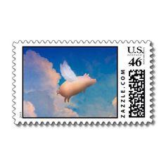 flying pig postage stamp