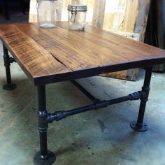 Custom Made Industrial Cast Iron Pipe Coffee Table by JS Reclaimed Wood Custom Furniture Industrial Design Furniture, Rustic Industrial, Furniture Design, Bar Furniture, Business Furniture, Office Furniture, Industrial Desk, Industrial Living, Furniture Stores