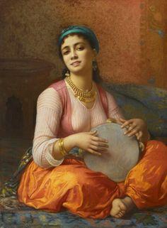 Algérie - Peintre Français Charles Zacharie Landelle (1821-1908), huile sur toile, Titre : Beauté Algérienne jouant au Tar