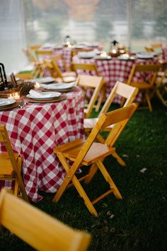 We have the gingham table linen and wooden chairs with padding! Stop by to see our showroom; new inventory everyday!