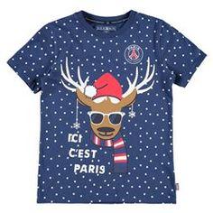 Paris Saint-Germain Reindeer Christmas T-Shirt - Navy - Junior Paris Saint Germain, Reindeer, Mens Tops, T Shirt, Boutique Online Shopping, Supreme T Shirt, Tee Shirt, Tee