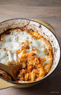 A baked pasta casserole with penne, sausage, ricotta and mozzarella is perfect for feeding a hungry family (or two!).