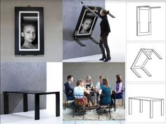 Similar like a murphy bed Picture Table is a high quality folding table. Picture frame folding table can be individualized with photos, paintings or posters Folding Furniture, Space Saving Furniture, Smart Furniture, Furniture Design, Office Furniture, Picture Frame Table, Picture Frames, Fold Down Table, Convertible Furniture