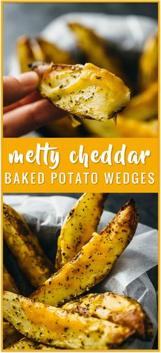Baked potato wedges with melted cheddar cheese recipe - These homemade baked potato wedges are seasoned with olive oil, basil, paprika, and cayenne before roasting in the oven. Each potato wedge is sprinkled with shredded cheddar cheese, which melts into a delicious layer over the crispy potato skin.