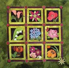 """Heirloom Blooms Block of the Month This beautiful wool applique quilt designed by WoolyLady is stunning. Your finished Heirloom Blooms quilt will measure 44"""" square. This will be a 10 month program. We are currently waiting on pricing and start date information but if you want to reserve your spot in this program you can sign up now!"""