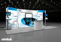 Client Name: MR Instruments  Design #: 56013R1  Size: 10x20  Attract visitors with stunning graphics on the multidimensional fabric backwall of this exhibit design, which seamlessly integrates adjustable product shelves, multimedia kiosks and mounted monitor. The open floor plan allows for versatility in configuration from show to show.  Additional Options:  Extrusion Infills Kiosks Fabric Graphics Fabric Structure Counters