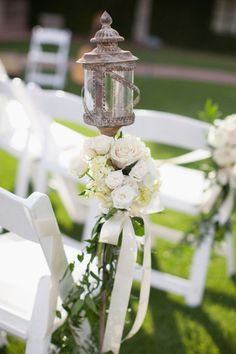 Flowers Under Rustic Lantern