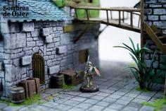 Detalle de un módulo de 35x35 cm. Mesa de juego (game terrain) perfecta para jugar a Frostgrave, Mordheim, Circulo de sangre, Carnevale o cualquier otro juego de escaramuzas (Skirmish games).