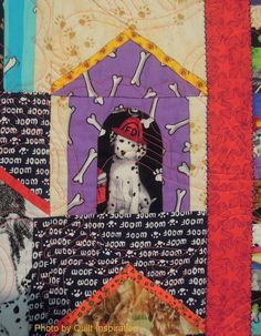 "close up, ""Doggieminiums"" by Pauline Salzman.  2013 Houston IQF, photo by Quilt Inspiration"