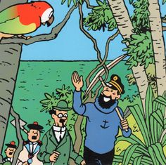 Red Rackham's Treasure • sailing ship high seas • the Thompson Twins, Captain Haddock and Tintin explore a tropical island in search of Red Rackham's Treasure • a masterpiece from Herge • Tintin, Herge j'aime