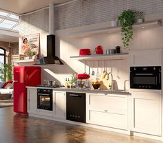 Retro Line Kitchen in Red, Black and Cream. 50s Style and Victoria Aesthetics.