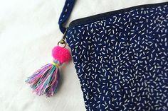 インディゴ刺し子に カラフルポップなタッセルを添えて #embroidery #colorful #handcrafted #indigo #カラフル #刺繍 # #刺し子 #インディゴ #藍 #手仕事