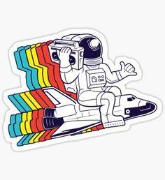 Pegatina funky astronaut