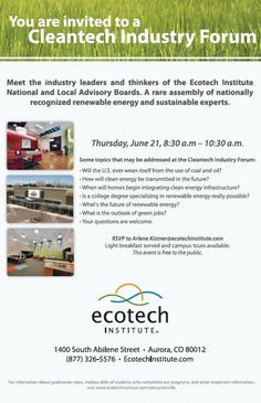 If any of you are going to be in the Denver area next Thursday (June 21), I hope you will join me at our Ecotech Institute for a free Cleantech Industry Forum!