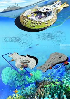 Three Spirits, Floating Marine Hotel, futuristic, fantastic, building, architecture, watercraft, vehicle, innovation, concept, Filip Kurzewski, cyber, technology, ocean