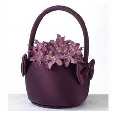 Plum Satin Flower Basket is the perfect size for those little flower girl hands.  Purple flower girl basket features deep purple satin and bows. #daisydays