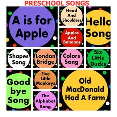 Preschool songs for the classroom! Remember that songs and rhymes increase vocabulary and communication skills.