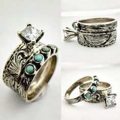 Western Engagement Rings, Western Wedding Rings, Western Rings, Engagement Ring Settings, Turquoise Engagement Rings, Turquoise Wedding Rings, Ring Engagement, Turquoise Jewelry, Wedding Sets