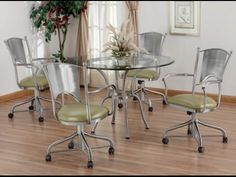 Dining Room Sets With Upholstered Chairs With Casters  Superior Stunning Dining Room Chairs On Wheels Inspiration Design