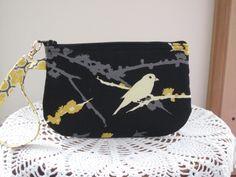 Antiquebasketlady Wedding Clutch Wristlet Zipper Gadget Purse Pouch in Songbirds in Gold  Bridal - pinned by pin4etsy.com
