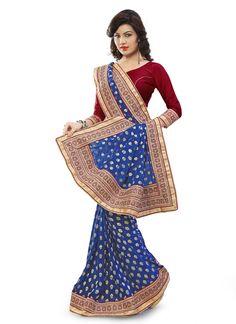 #Blue Georgette #Fancy #Pallu #Designer #Saree #nikvik  #usa #designer #australia #canada #freeshipping #saris