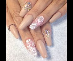 Nude and lace beaded nails