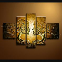 Beautiful Contemporary wall art oil paintings of Tree. Direct from Bo Yi Art Studio. It is with great pleasure to offer you this stunning 5 panel(s) wall art! This painting is created and hand painted by us, it is well stretched with inner frame, ready to Panel Wall Art, Wall Art Sets, Large Wall Art, Framed Wall Art, Canvas Wall Art, Clock Wall, Diy Clock, Modern Canvas Art, Contemporary Wall Art